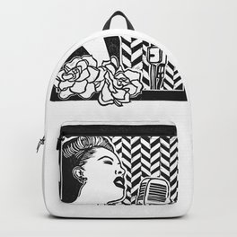 Lady Day (Billie Holiday block print blk) Backpack