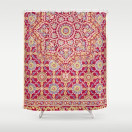 Indian embroidery on crimson silk from the Industrial arts of the Nineteenth Century (1851-1853) by (1820-1877) Shower Curtain
