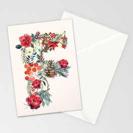 F Alphabet Floral Watercolor Stationery Cards