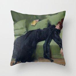 A DECADENT GIRL - RAMON CASAS Throw Pillow