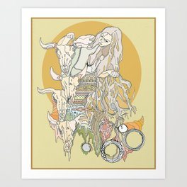 hair, wood, bones Art Print