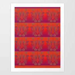 Sunset Paisley Art Print