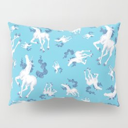 Stencil Unicorn on Teal Sky and Cloud Spray Pillow Sham
