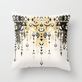 Modern Deco in Black and Cream Throw Pillow