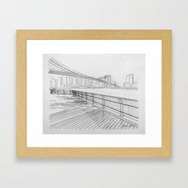 The Hudson from Brooklyn on a Foggy Day Framed Art Print