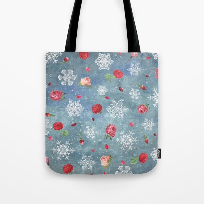 Snow and Roses Tote Bag