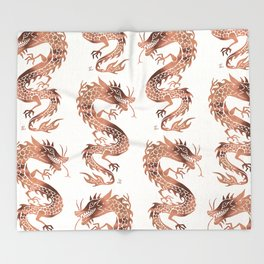 Chinese Dragon – Rose Gold Palette Throw Blanket