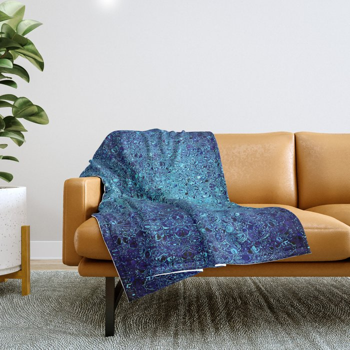 Deep blue glass mosaic Throw Blanket