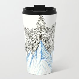 Winter Eyes Mountain Range Mandala Travel Mug