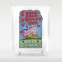 valentines Shower Curtains featuring valentines day choo choooo by aceofspades81