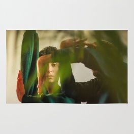 Dancing people, dance, shadows, hands and plants, blurred photography, dancers, forest, yoga Rug