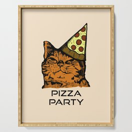 Pizza Party Cat: Funny Animal Kitty Serving Tray