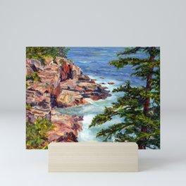 Thunder Hole, Acadia National Park, Maine Coast, acrylic painting by Pamela Parsons, oceean Mini Art Print