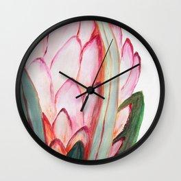 Pink large protea, botanical illustration Wall Clock