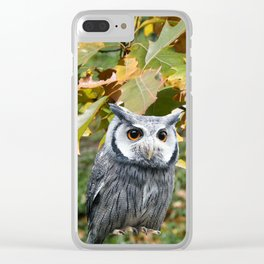 Owl and Leaves Clear iPhone Case