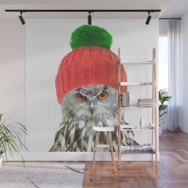 Owl with cap winter holidays Wall Mural