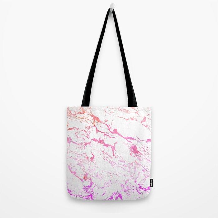 Modern pink purple watercolor white marble pattern Tote Bag
