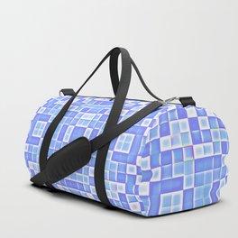 Periwinkle Blue Pixels Pattern Duffle Bag
