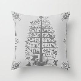 Christmas tree ship (gray) Throw Pillow