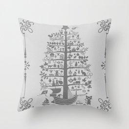 Christmas tree ship (gray) Throw Pillow