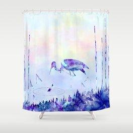 Stork Landscape In Alcohol Ink Art Shower Curtain