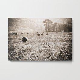 Hay Bales in Snowdonia II Metal Print