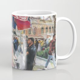 Hot dogs and soda sell well on the street outside the Metropolitan Museum, New York Coffee Mug