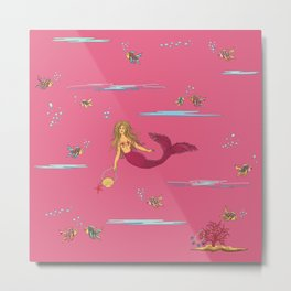 Fashionable mermaid - pink Metal Print