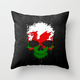 Flag of Wales on a Chaotic Splatter Skull Throw Pillow