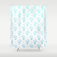 dolphins Shower Curtains featuring Dolphins by Lizzy Watkins