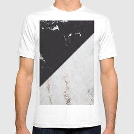 Black Marble Meets White Glitter Marble #1 #decor #art #society6 T-shirt