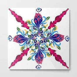 Moroccan Rose Tile Pattern Metal Print