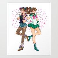sailor jupiter Art Prints featuring Sailor Jupiter by Jen Bartel