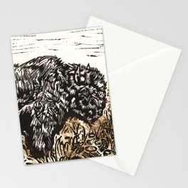 Buffalo's Roam, American Bison Wildlife Black White Gold Linocut Print with Collage Stationery Cards
