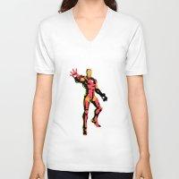 ironman V-neck T-shirts featuring ironman  by mark ashkenazi
