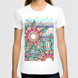 Doodle Art Three Flowers Vines with Stripes T-shirt