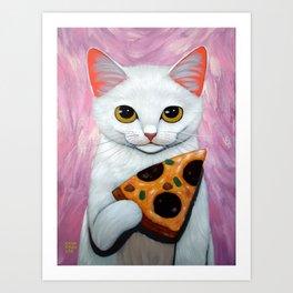 WHITE KITTY AND PIZZA Art Print