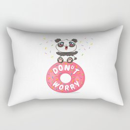 Panda on donut Rectangular Pillow