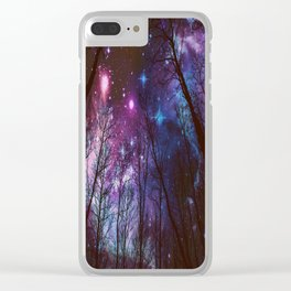 Black Trees Dark Space. Clear iPhone Case