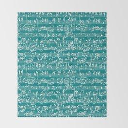 Hand Written Sheet Music // Teal Throw Blanket