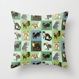 Best Nine  Mustelids from Spain Throw Pillow