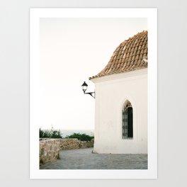 "Travel photography ""Ibiza white"" | Modern wall art Ibiza Spain coast white tones sunset Art Print"
