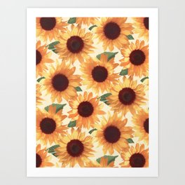 Happy Orange Sunflowers Art Print