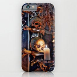 Sedlec Ossuary Candle Photo Art, Skull Bone Church iPhone Case