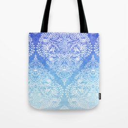 Out of the Blue - White Lace Doodle in Ombre Aqua and Cobalt Tote Bag