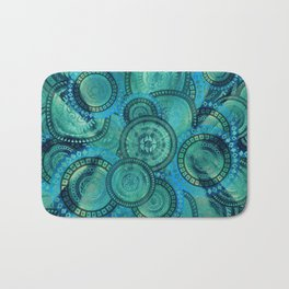 Gentle Teal and blue Circular Tribal  pattern Bath Mat