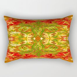 French Tapestry Style Red Poppy Floral Rectangular Pillow