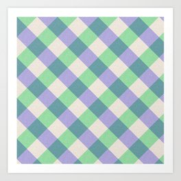 Green blue ivory violet geometric checker gingham Art Print