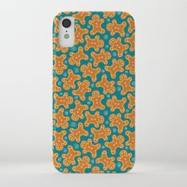 Gingerbread Men on Teal iPhone Case