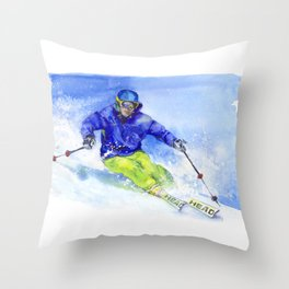 Watercolor skier, skiing illustration Throw Pillow